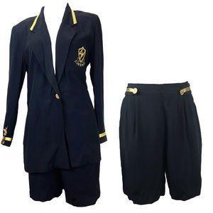 Vintage 90s Black & Gold Crest Blazer & Short Set